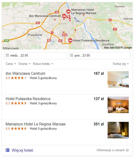 Google Hotel Ads Warszawa