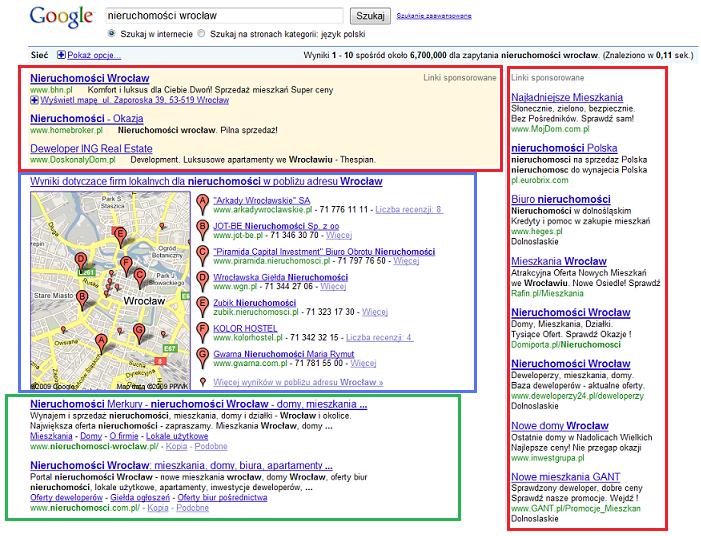 """Wyniki zwrócone przez wyszukiwarkę Google dla zapytania """"nieruchomości Wrocław"""", Źródło: opracowanie własne."""