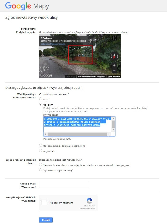 Formularz zamazywania zdjęć domów