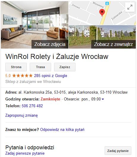 pozytywne opinie na mapach google