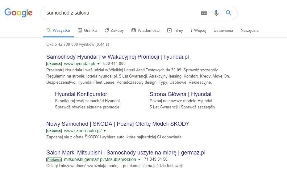 Reklama Google Ads dla zapytania