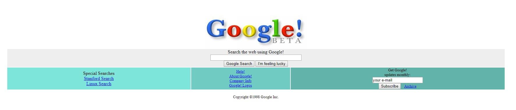 Wygląd pierwszej wersji wyszukiwarki Google