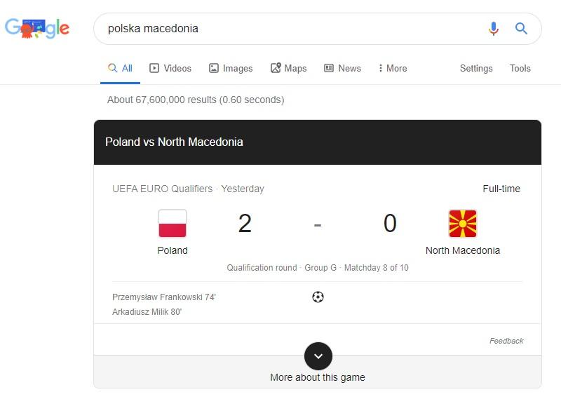 Wyniki meczów w Google