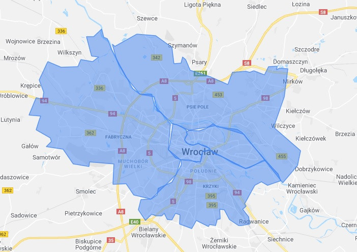 Pozycjonowanie Wrocław mapa z podziałem na dzielnice
