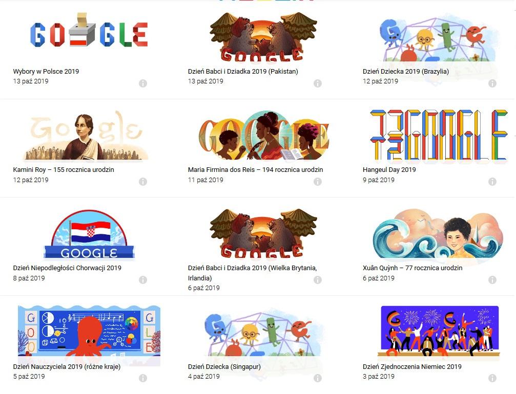 Przykłady Doodle od Google