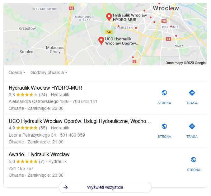 Wizytówki Google Moja Firma