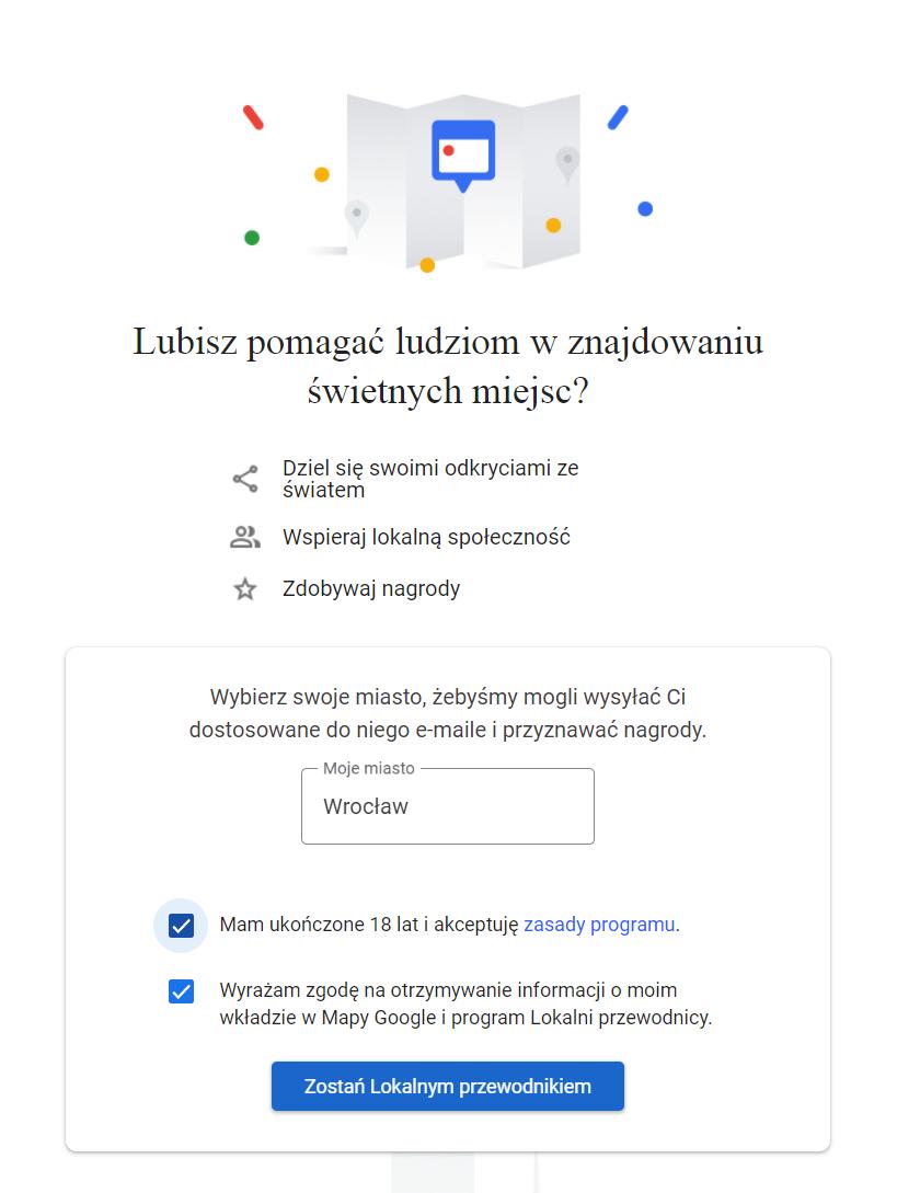 Lokalny przewodnik Google - rejestracja w programie