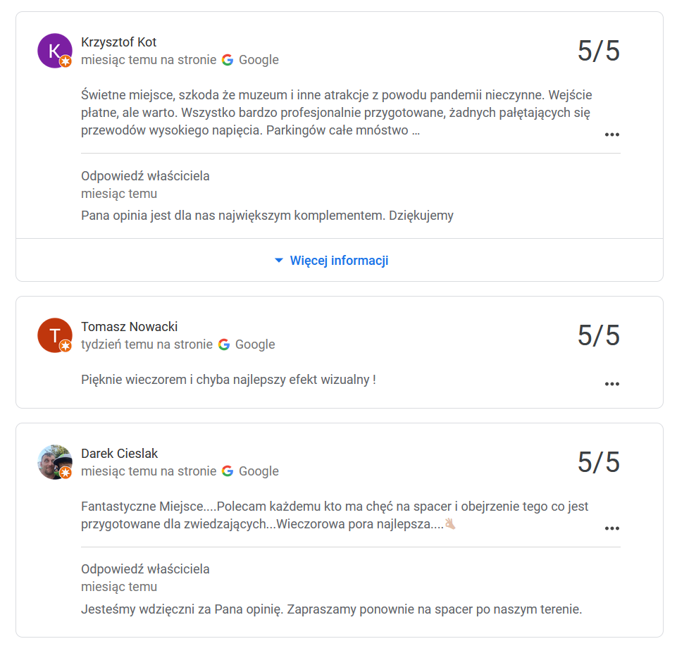 Przykłady opinii wystawione przez Lokalnych Przewodników Google