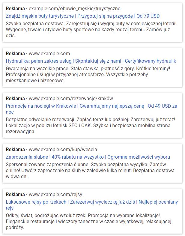 Przykładowe teksty reklamowe Google Ads